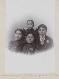 Laura Parker, Juanada Parker, Esther Parker, and Harold Parker, c.1897