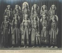 """Female students as """"Indian Squaws"""" in """"The Captain of Plymouth"""" [pose 1], 1909"""