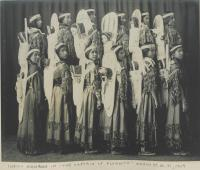 """Female students as """"Indian Squaws"""" in """"The Captain of Plymouth"""" [pose 2], 1909"""