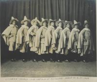 """Male students as the """"Citizens' Chorus"""" in """"The Captain of Plymouth"""", 1909"""