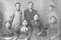 Seven unidentified Crow students [version 2], c.1885