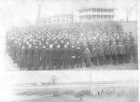 Two images: student body and school band, c.1892