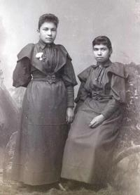 Lillian A. Schanandore and Dollie Wheelock, c.1896