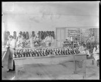 Students working in the shoe shop, c.1881
