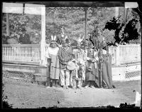 Five chiefs and two interpreters with Richard Henry Pratt [version 1], c.1880