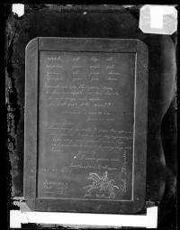Slate showing student work with names R. B. Hayes and John Williams, 1880