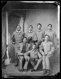 Seven male Kiowa students [version 1], 1880