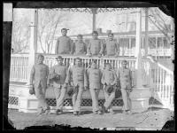 Ten male Creek students posed at the bandstand [version 1], 1881