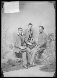 Wounded Yellow Robe, Henry Standing Bear, and Chauncey Yellow Robe, c.1888