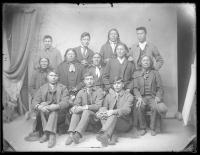 Six Sioux chiefs with six male students [version 1], c.1890
