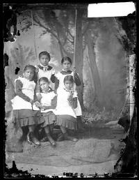 Five young female Osage students [version 1], c.1882