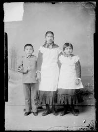Two female students and one male student, c.1883