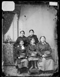 Lucy Black Shortnose, Ella Hippy, Fanny (Knife Holder), Mabel Doanmoe, and Laura Doanmoe [version 1], c.1880