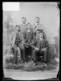 Hector Cat and four unidentifed young men, c.1889