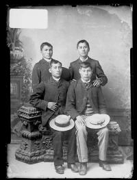 Eustace Esapoyhet, Frank Everett, and two unidentified young men, c.1890