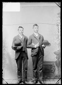Clarence White Thunder and an unidentified young man, c.1890