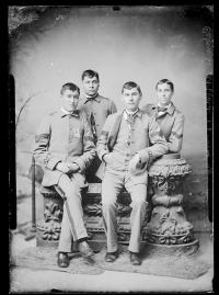 Arnold Woolworth and three unidentified male students, c.1882