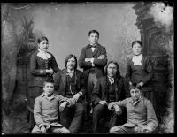 Standing Bear, Red Fish and five students [version 1], c.1884