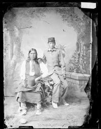 Left Hand and his son, U.S. Grant (Grant Left Hand) [version 1], c.1880