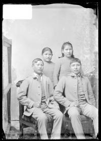 Justin Head, Caleb Kechjolay, Beatrice Morton, and Maggie Iahanetha, c.1888