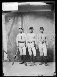 Jonas Place, Morgan Toprock, and Robert Penn in baseball uniforms, c 1887