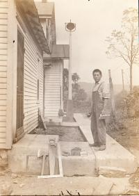 Harry John laying cement, #2, c.1914