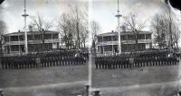 Students posed in rows in front of superintendent's house, c.1880