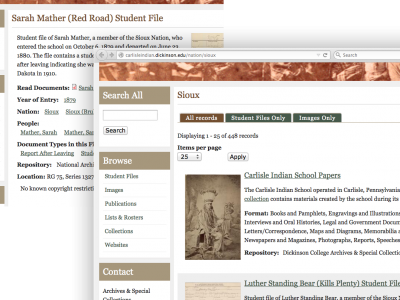 Example screenshots showing Sioux nation tag and view page with tabs