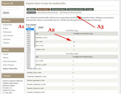 Screenshot of the 'Explore student files' date of entry tab