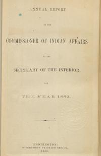 Excerpt from Annual Report of the Commissioner of Indian Affairs, 1882