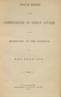 Excerpt from Annual Report of the Commissioner of Indian Affairs, 1878