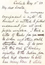 Letter from Richard H. Pratt to Cornelius R. Agnew, May 11, 1883