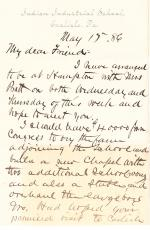 Letter from Richard H. Pratt to Cornelius R. Agnew, May 17, 1886