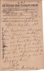 Pratt Forwards Faulkner's Request for Funds while Snow Bound