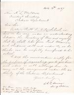 Interior Department Memo for Authorization of Recruiting Students at Fort Marion