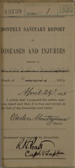 Monthly Sanitary Report of Diseases and Injuries, March 1895