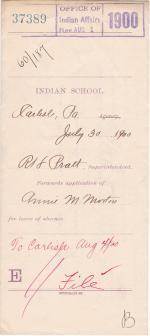 Annie M. Morton's Application for Leave of Absence