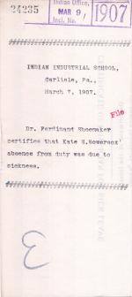 Certification of Kate S. Bowersox's Sickness