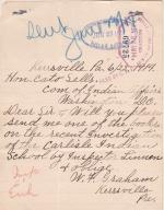 Request for 1914 Investigation Report by W. F. Graham