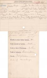 James Wolfe Student Information Card