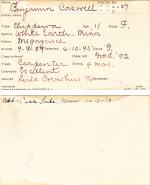 Benjamin Caswell Student Information Card