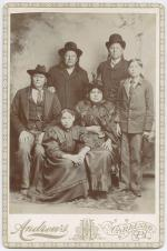 Harold Parker and Laura Parker with visitors Red Elk, Isatia, Quanah Parker and Tonarcy, 1896