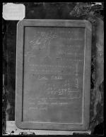 Slate showing student work with name Luther Otakte [version 1], c. 1880