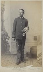Dennison Wheelock with a cornet [version 2], c.1891