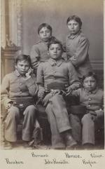 Five male Sioux students [version 2], 1880