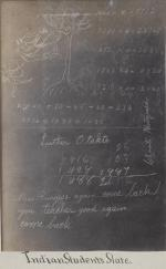 Slate showing student work with name Luther Otakte [version 2], c. 1880