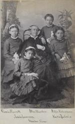 Dessie Prescott, Jennie Lawrence, Nellie Robertson, and Katie La Croix with Sarah Mather [version 2], c.1881