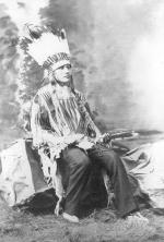White Buffalo in headdress with bow and arrow (pose #2), 1881