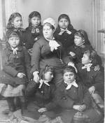 Teacher Mary Hyde and eight female students, c.1880