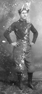 Frank Cayou wearing football uniform, c.1897